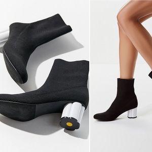 UO Black & White Flora Glove Heeled Boot